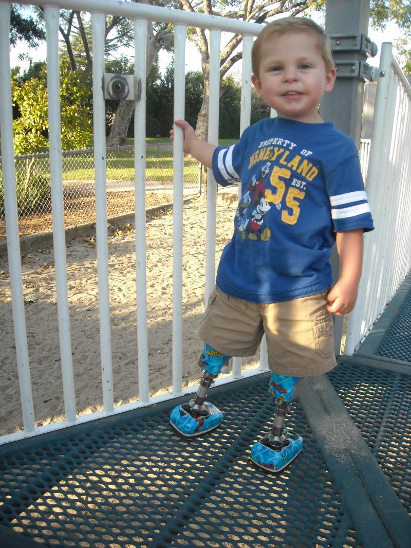 Joshua in his Toy Story legs 2yrs. 10mos.