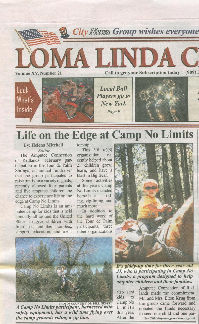 Camp No Limits in Loma Linda Newspaper